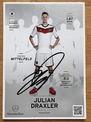 Julian Draxler 1. AK DFB 2014 Autogrammkarte hinten original signiert