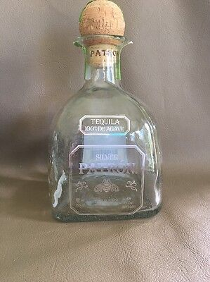 Patronizer Silver Tequila 100% De Agave 750ml empty bottle with cork FREE SHIPPING!