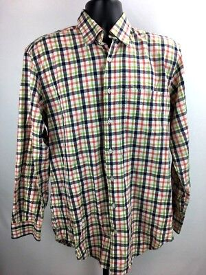 - Hickey Freeman Men's Shirt Button Down Collar Plaid White Blue M Woven in Italy
