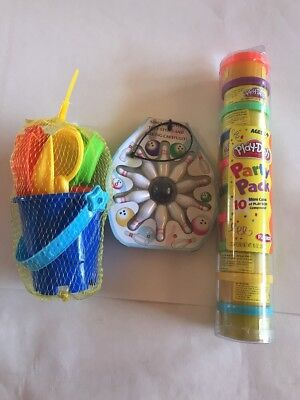 Toys Lot Kids Play-Doh 10 Mini Cans Bowling Beach Sandcastle Set Brand New Bday