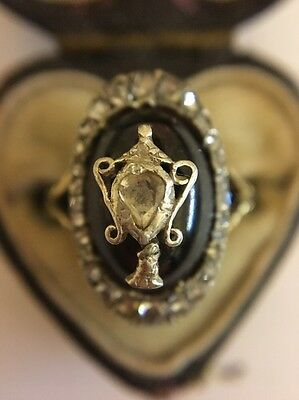 Antique Georgian Rose Cut Diamond Cabochon Garnet Urn Ring Gold