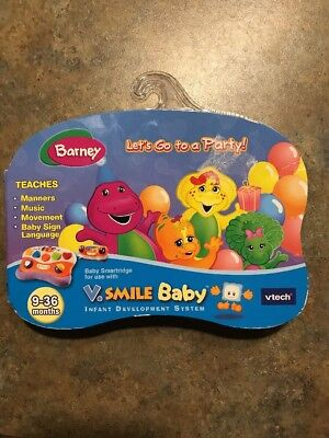 V. Smile Baby Game Cartridge Barney Let's Go To A Party ! NEW 9-36 Months