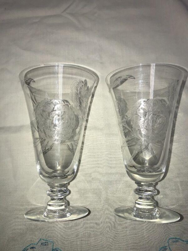 "SET  2 VTG FOSTORIA Footed 6.25"" Goblets Stems Wine Glasses  CAMILLIA ROSE"