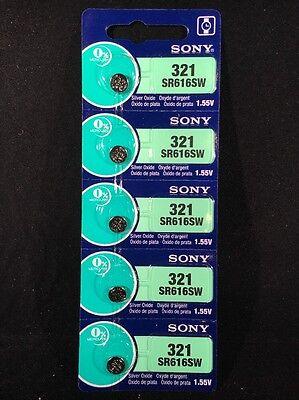 5 FRESH Sony 321 Silver Oxide Mercury Free 1.55 volts Batteries Size SR616SW