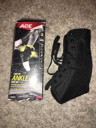 ACE 3M Sport Lace-Up Ankle Brace with Gel, Large, Moderate S