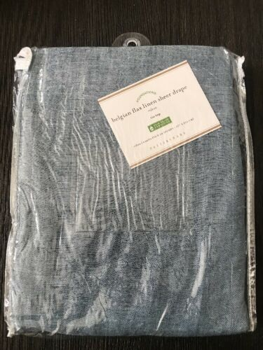 $79 Pottery Barn Belgian Flax Linen Tie Top Sheer Drape, 50