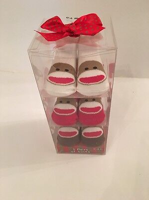 Sock Monkey Mädchen (Sock Monkey Baby Boy Girl 3 Pairs Booties Socks Size 0-6 Months Layette  Gift #2)