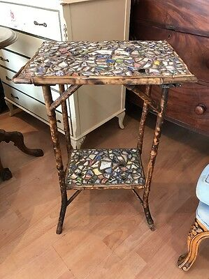 Antique Bamboo Wood Plant Stand With Mosaic Tiles Two Tier FREE UK P&P🇬🇧