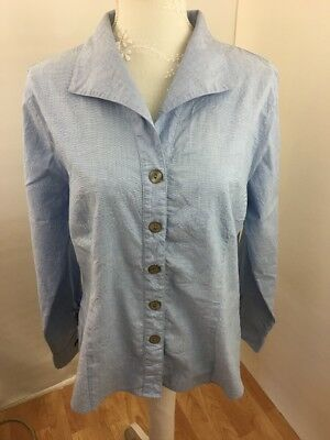 Crinkle-design (Foxcroft Ladies Top Blue Fitted Sz 10 Long sleeve Crinkle Design Fabric)