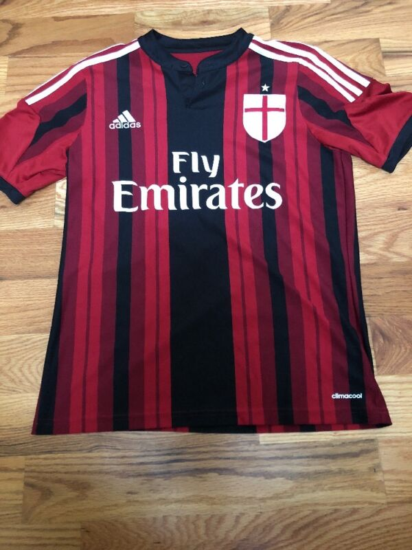 c88ddc5ab49 ACM Milan Fly Emirates Adidas Climacool Soccer Football Jersey Youth ...