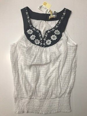 Angels Womens White Tank Top - YA LOS ANGELES TANK Size SMALL Womens WHITE BLUE FLORAL BOHO COTTON TOP CUTE A78