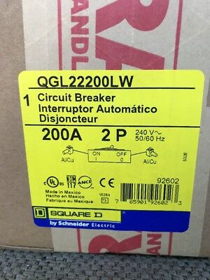 Square D Type Qgl Circuit Breaker 2 Pole 200 Amp Qgl22200lw New In Box