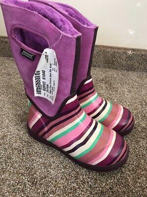 NWT Bogs Waterproof Prairie Boot Violet Purple Multi Stripe Youth 4 - Purple Multi Schuhe