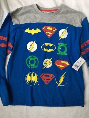 Boys NWT Justice League Long Sleeve Shirt Large Superman Batman Blue (Justice Boys)