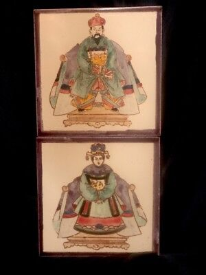 Antique 1920's  Set of 2 Chinese Hand painted Porcelain / Ceramic Poole Tiles