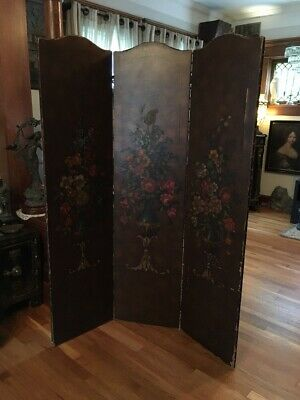 ANTIQUE TRI FOLD BROWN LEATHER ROOM DIVIDER HAND PAINTED 68