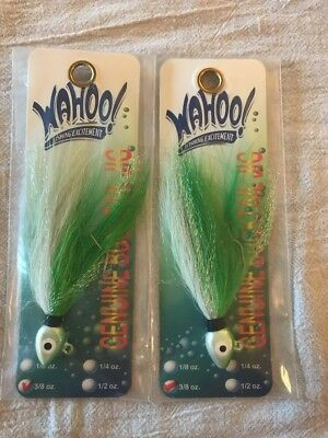 2 wahoo genuine bucktail jig 3/8oz. Green Shad MSG-SFB38-141