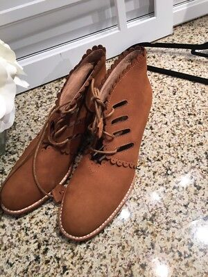 F-Troupe Women's Leather Booties Lace Up Tan  Shoes Ret $350 Anthropologie 10 for sale  Alpharetta