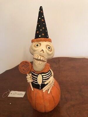 David H. Everett Day of Dead Skelly Clown in Pumpkin-retired (like Bethany Lowe)