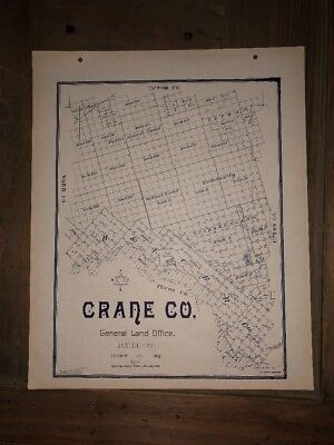 1902 CRANE COUNTY TEXAS MAP LAND OFFICE AUSTIN BLUE LINE ANTIQUE VINTAGE