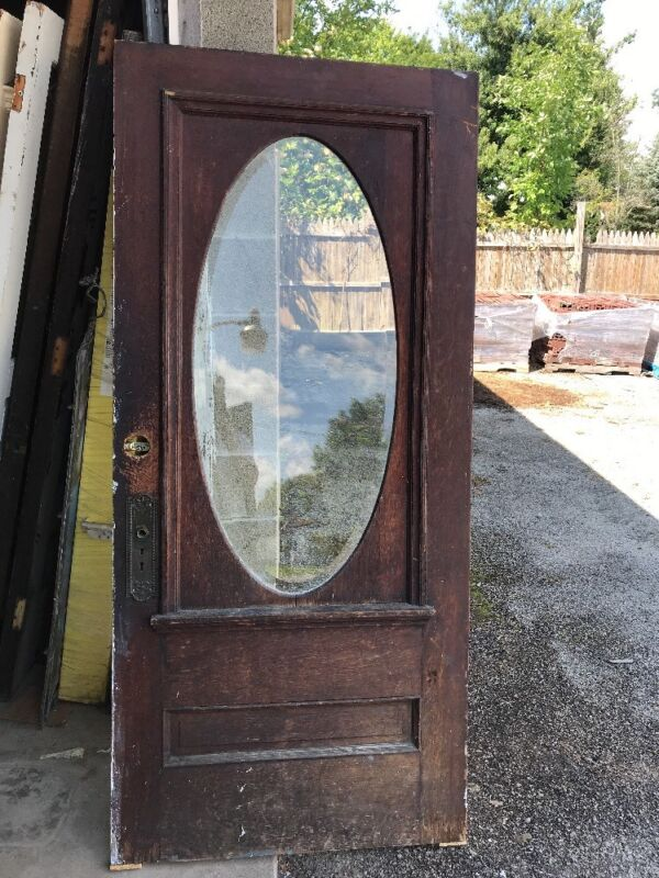 MAR233 antique beveled glass oval entrance door 35.75 x 79.25