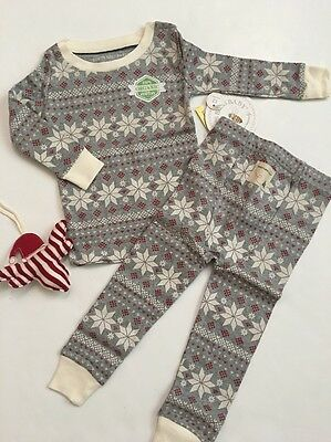 Burts Bees Baby Boy Girl Organic Cotton Pajamas Size 12 Months Gray Snowflake