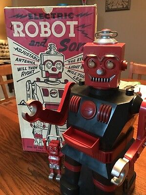 Electric Robot and Son-Marx Toys 1950's RARE Black And Red Vintage Toy Antique