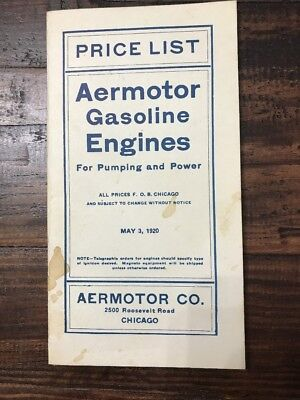 May 1920 Price List Aermotor Gasoline Engines For Pumping Power Hit Miss Engin