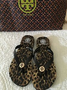 d1d9e2db56cc0f TORY BURCH Leopard Flip Flop Sandals Black Gold Logo Size 9 New