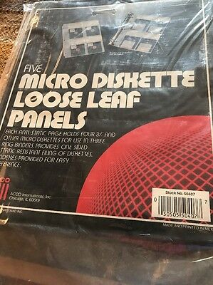 Acco Micro Diskette Loose Leaf Panels For Three Ring Binders Set Five 3.5 Disks