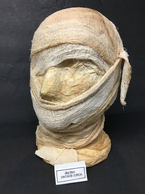 Styrofoam Head Halloween Decorations (*VINTAGE* MUMMY Head Halloween Prop - Hand Made Styrofoam Creepy Decoration)
