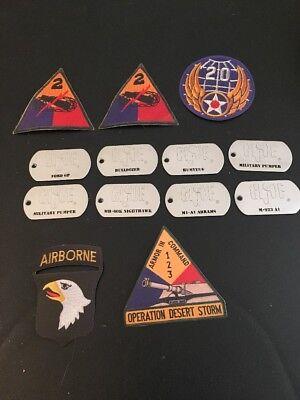 GI Joe Dog tags Metal lot of 8 Bulldozer, m1-a1, pumper, m-923 a1 Plus Stickers