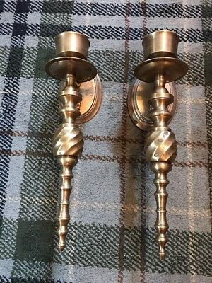 Two Fabulous Vintage Brass Wall Sconces