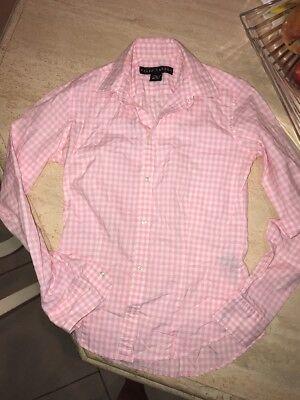 Ralph Lauren Black Label Button Down Womens Pink White Checkered Shirt Size 2