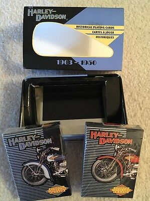 1997 Harley Davidson Ltd Edition Playing Cards in Collectors Tin 1903-1950 NIB