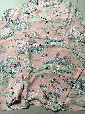1950s Vintage Rayon Hawaiian Shirt No Label Long Sleeve