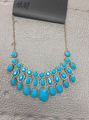 H&M New Summer Blue Faux Stone Gold Tone Statements Necklace Drops