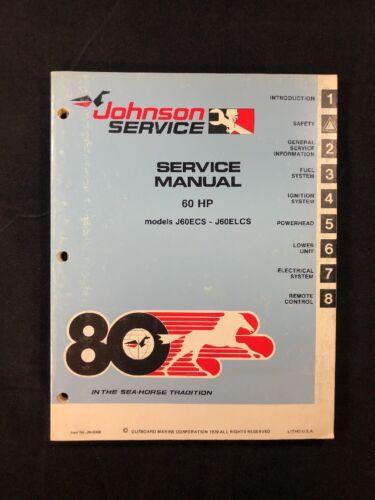 1980 JOHNSON OMC SERVICE SHOP REPAIR MANUAL OUTBOARD MOTOR - 60 HP P/N 8008