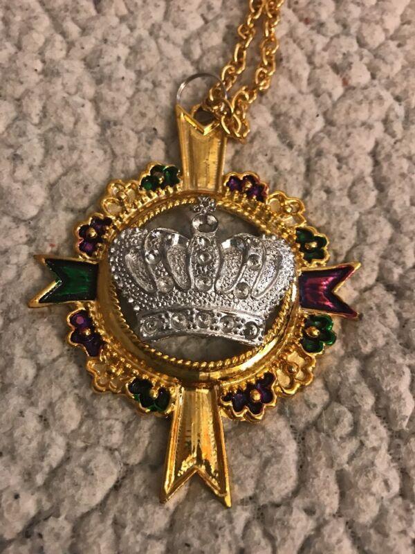 Metal Silver Crown Mardi Gras Chain