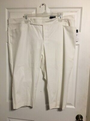Plus Size Stretch Twill-capri (Chaps Plus Stretch Twill Capri Pant White Women's Size 24W NWT)