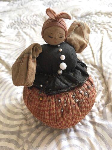 Antique Original Handmade Lady in Dress Sewn Cloth Pin Cushion