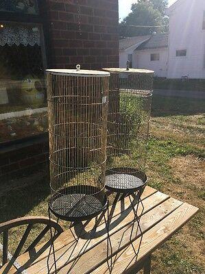 2 VTG PREVUE HENDRYX BIRD CAGE Birdcage IRON HAIRPIN LEGS STAND MID-CENTURY 70s