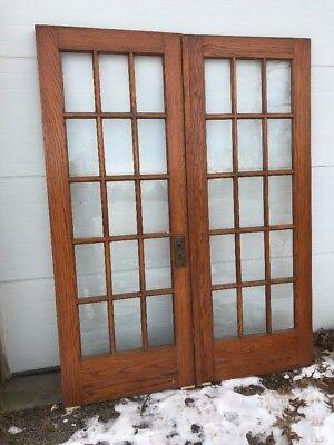 MAR 8 match Pair antique flat glass oak French doors 50.5 x 78.75 X 1 3/8 for sale  Hubbard