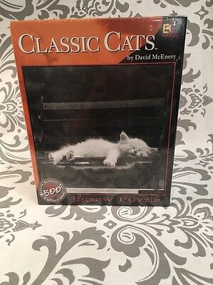 2001 Buffalo 500 Piece Jigsaw Puzzle  Classic Cats  By David Mcenery  New   388