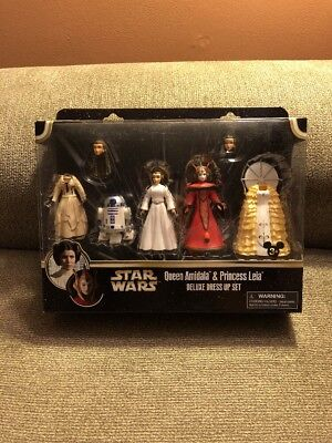 Star Wars Princess Amidala (STAR WARS QUEEN AMIDALA & PRINCESS LEIA FIGURES DELUXE DRESS UP SET Disney)