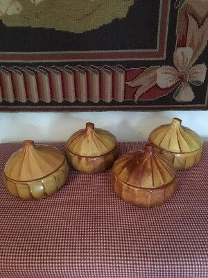 Set of 4 Covered Soup Bowls Tureens Pumpkin Squash Shape Thanksgiving Halloween](Halloween Squash Soup)