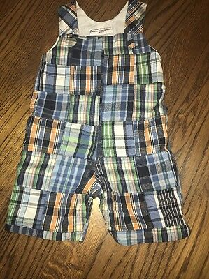 3 Months Plaid Overalls Shorts Fireflies And Fairytales Boys Sleeveless Outfit](Fireflies And Fairytales)