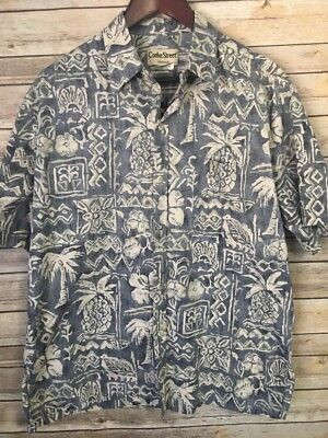(Vintage Cooke Street Hawaiian Shirt Men's Medium Reverse Print Pineapple Floral)