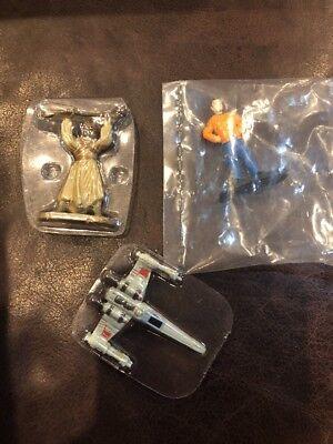 Disney Star Wars Miniatures Lot of 3 New X Wing Tuscan Raider Guy In Orange