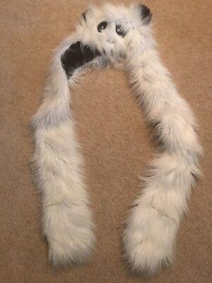 Faux Fur Panda Bear Animal Hat Scarf Mittens - Panda Bear Hat